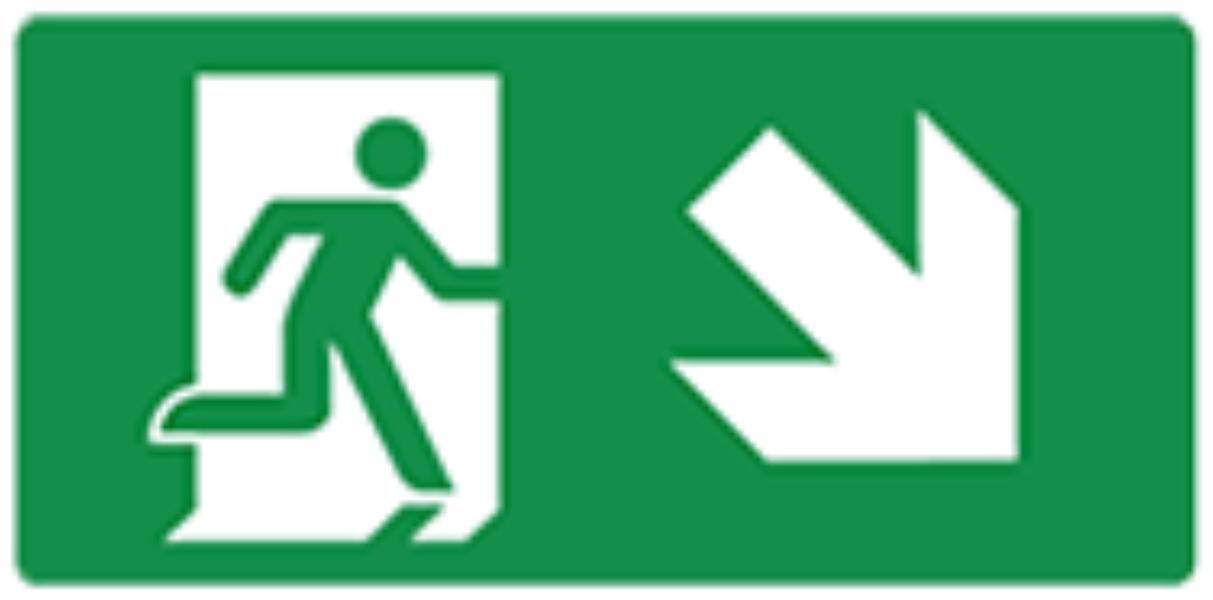 Pictogram vluchtweg trap af rechts