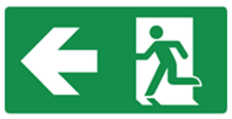 Pictogram vluchtweg links