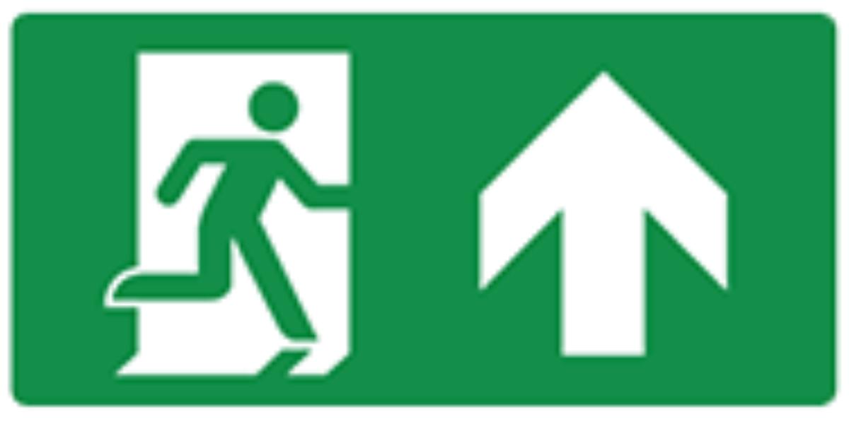 Pictogram vluchtweg rechtdoor of naar boven