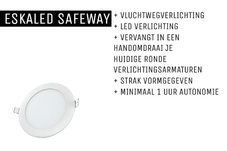 Kenmerken Eskaled Safeway noodverlichtingsarmatuur