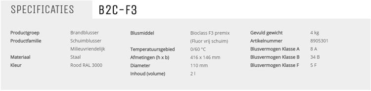 De F3 fluorvrije schuimblusser is nu ook verkrijgbaar in een 2 liter uitvoering